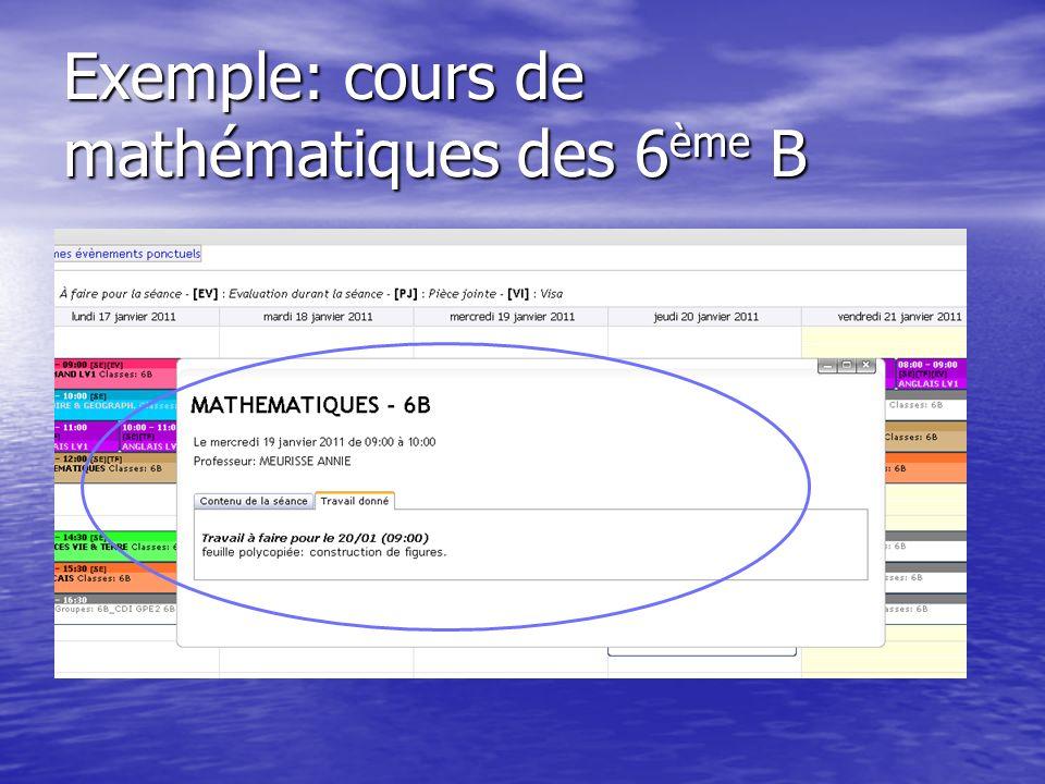 Exemple: cours de mathématiques des 6ème B