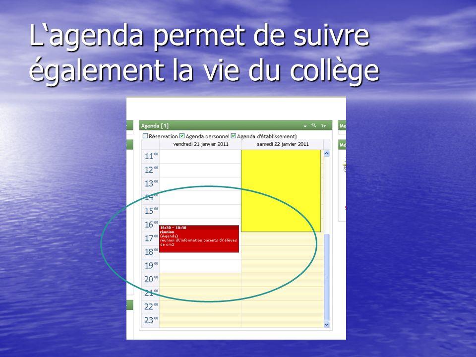 L'agenda permet de suivre également la vie du collège