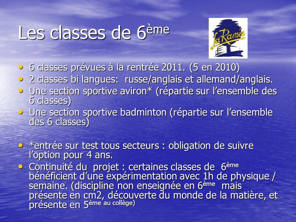 Les classes de 6ème 6 classes prévues à la rentrée 2011. (5 en 2010)