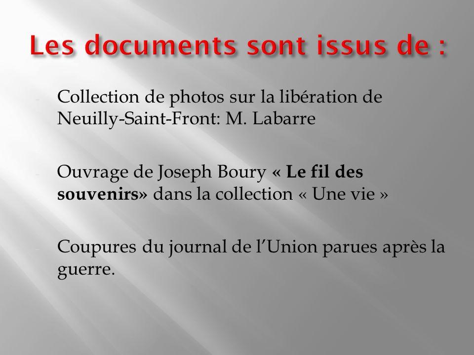 Les documents sont issus de :