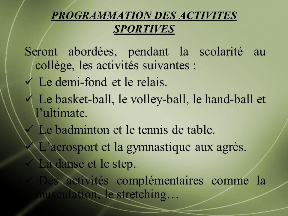 PROGRAMMATION DES ACTIVITES SPORTIVES