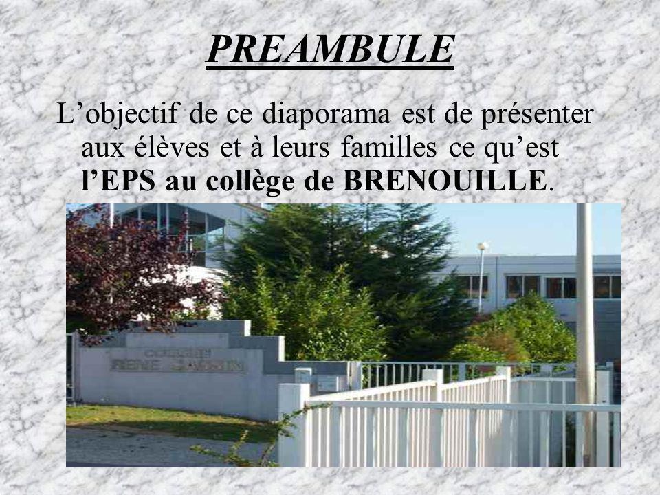 PREAMBULE L'objectif de ce diaporama est de présenter aux élèves et à leurs familles ce qu'est l'EPS au collège de BRENOUILLE.