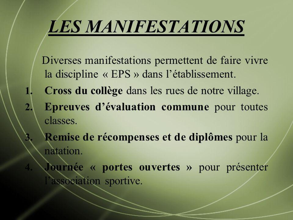 LES MANIFESTATIONS Diverses manifestations permettent de faire vivre la discipline « EPS » dans l'établissement.