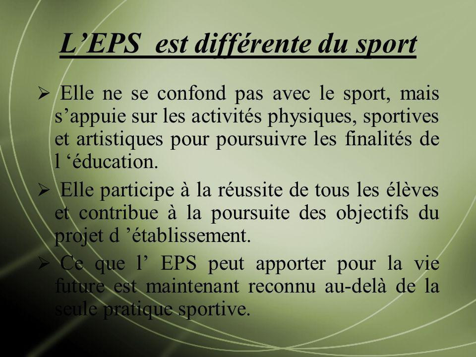 L'EPS est différente du sport