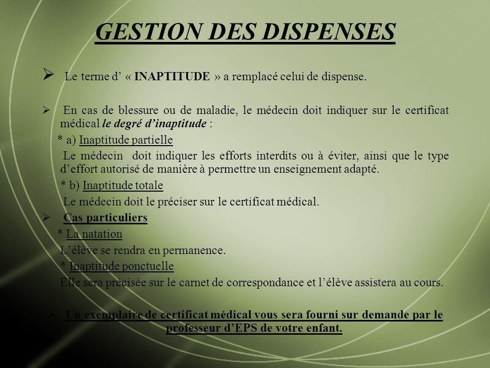 GESTION DES DISPENSES Le terme d' « INAPTITUDE » a remplacé celui de dispense.