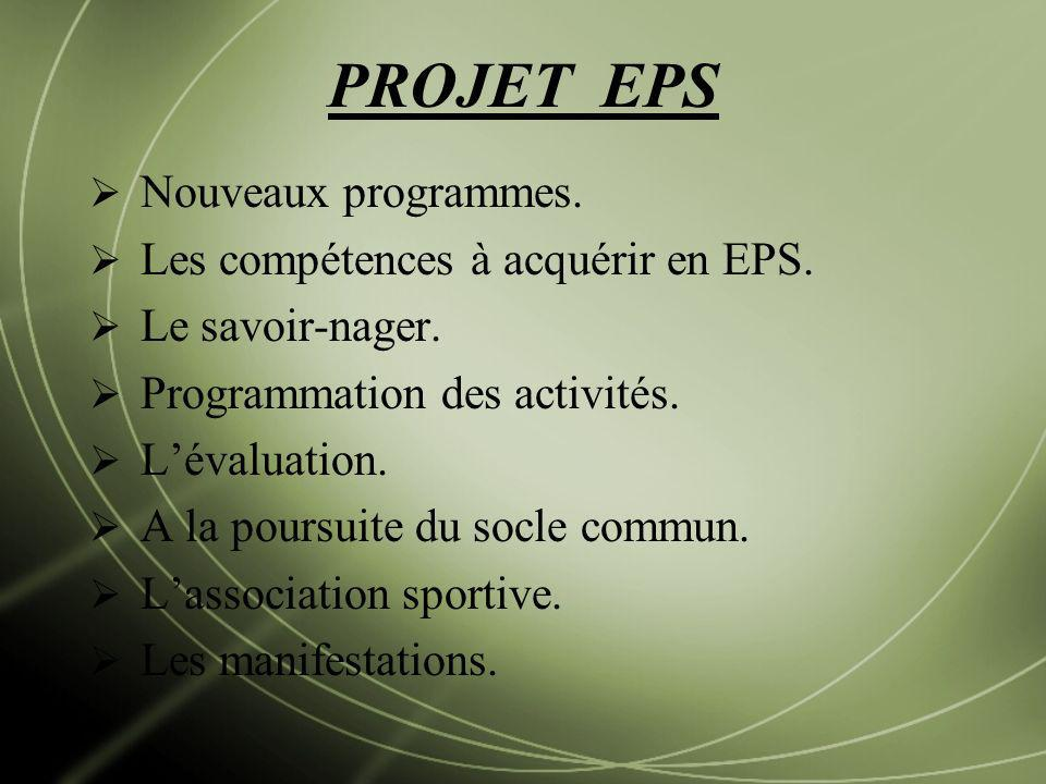 PROJET EPS Nouveaux programmes. Les compétences à acquérir en EPS.