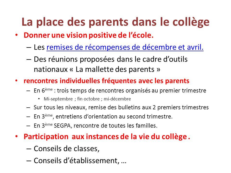 La place des parents dans le collège