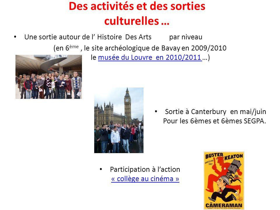Des activités et des sorties culturelles …