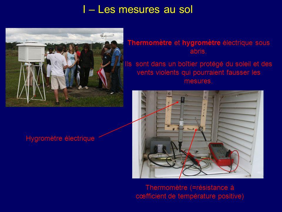 I – Les mesures au sol Thermomètre et hygromètre électrique sous abris.