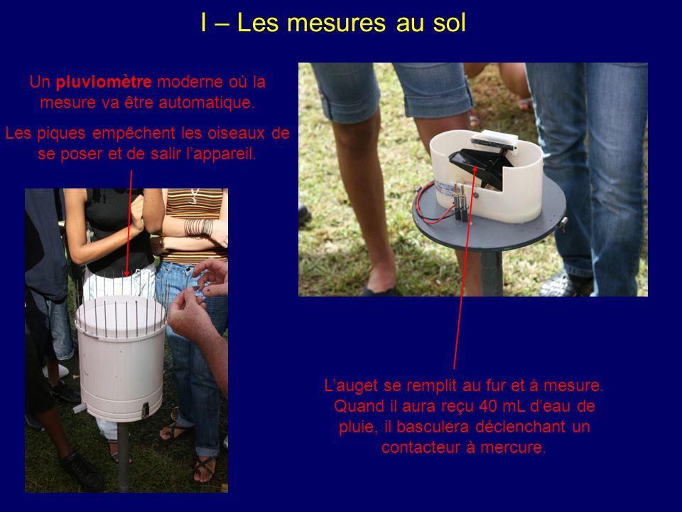 I – Les mesures au sol Un pluviomètre moderne où la mesure va être automatique. Les piques empêchent les oiseaux de se poser et de salir l'appareil.
