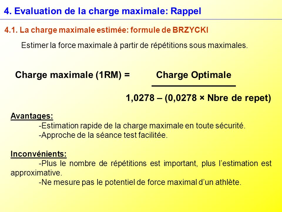 4. Evaluation de la charge maximale: Rappel