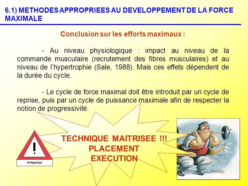 Conclusion sur les efforts maximaux :
