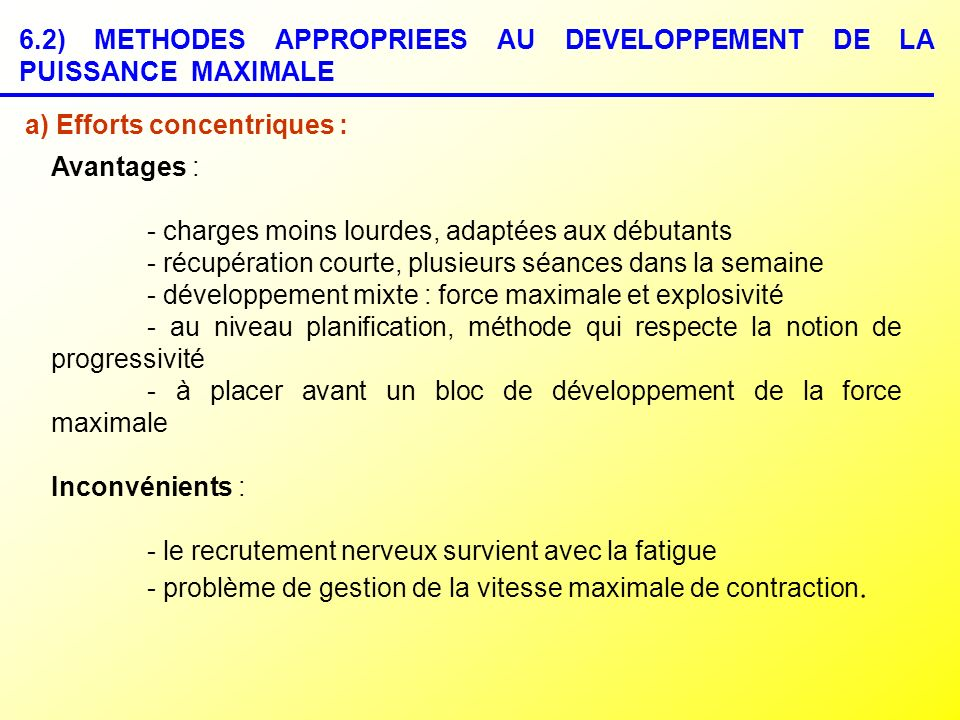 6.2) METHODES APPROPRIEES AU DEVELOPPEMENT DE LA PUISSANCE MAXIMALE