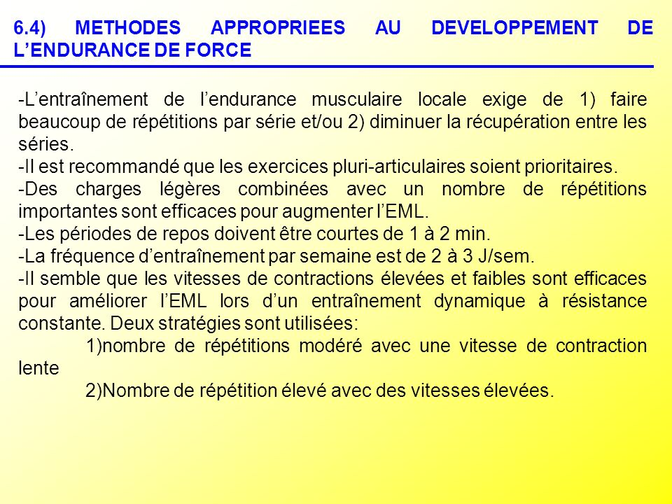 6.4) METHODES APPROPRIEES AU DEVELOPPEMENT DE L'ENDURANCE DE FORCE