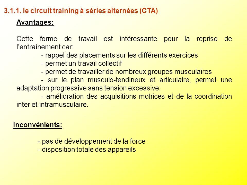 3.1.1. le circuit training à séries alternées (CTA)