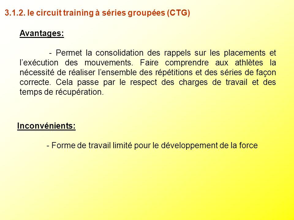 3.1.2. le circuit training à séries groupées (CTG)