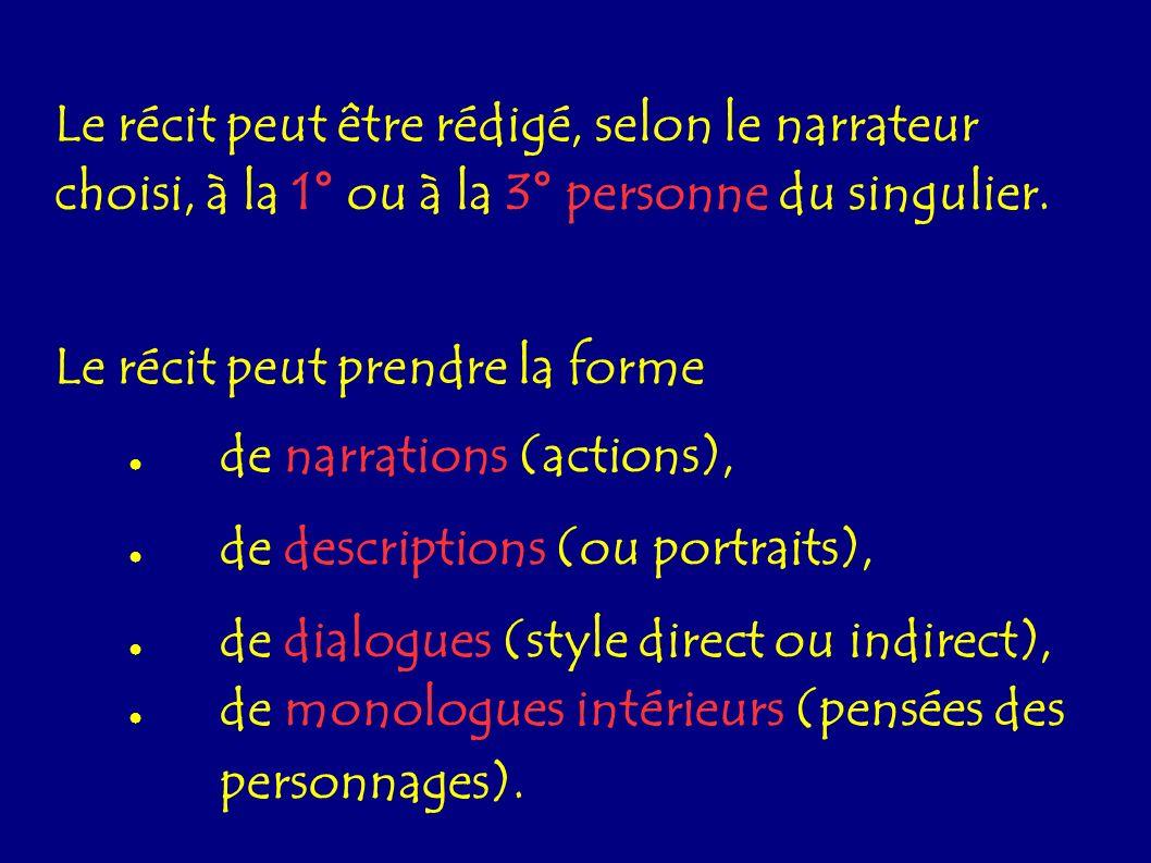 Le récit peut être rédigé, selon le narrateur choisi, à la 1° ou à la 3° personne du singulier.