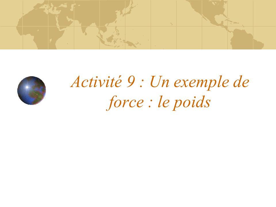 Activité 9 : Un exemple de force : le poids