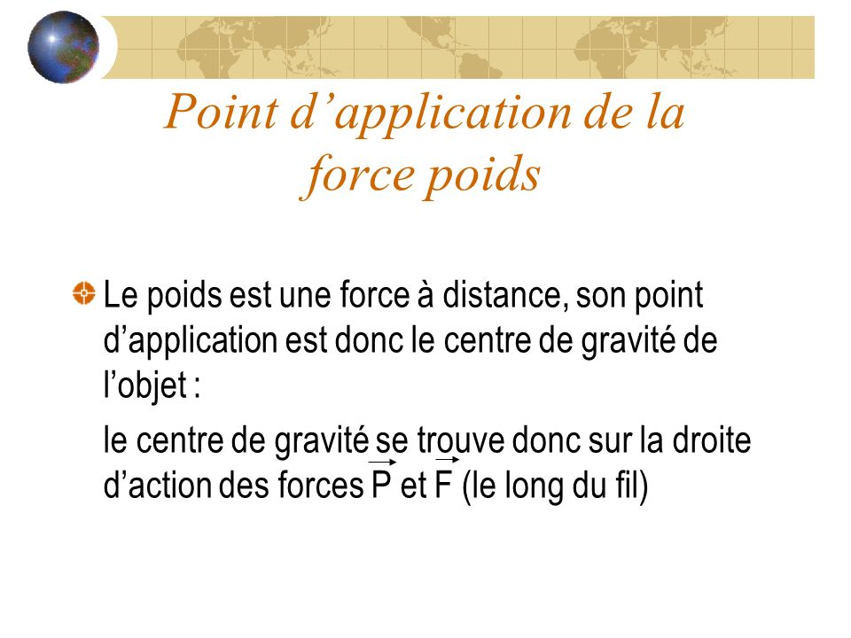 Point d'application de la force poids