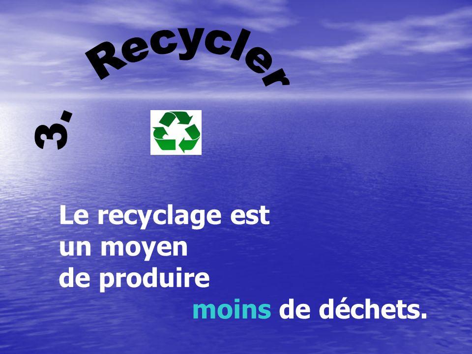 3. Recycler Le recyclage est un moyen de produire moins de déchets.