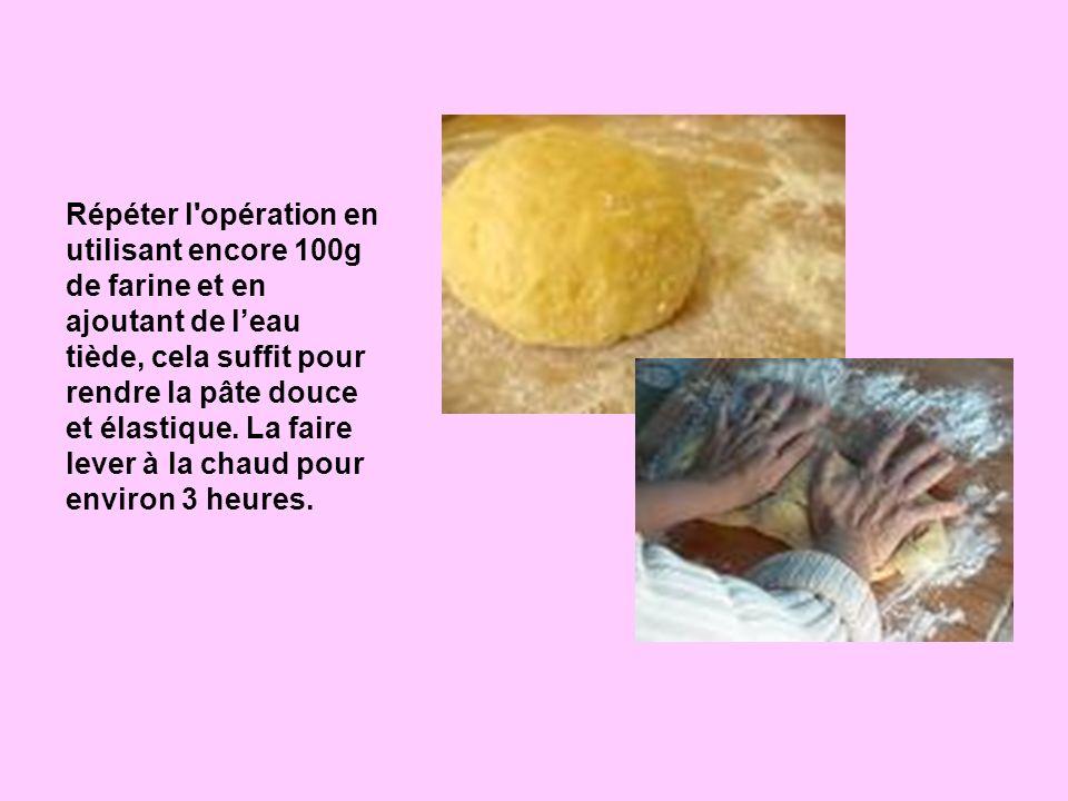 Répéter l opération en utilisant encore 100g de farine et en ajoutant de l'eau tiède, cela suffit pour rendre la pâte douce et élastique.