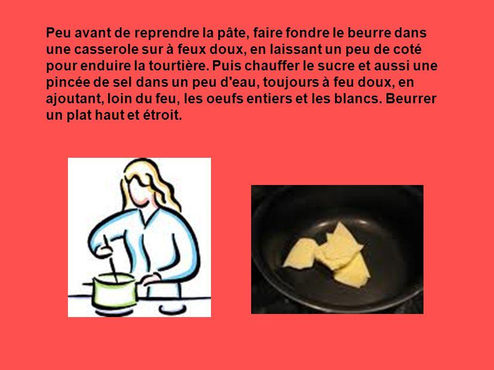 Peu avant de reprendre la pâte, faire fondre le beurre dans une casserole sur à feux doux, en laissant un peu de coté pour enduire la tourtière.