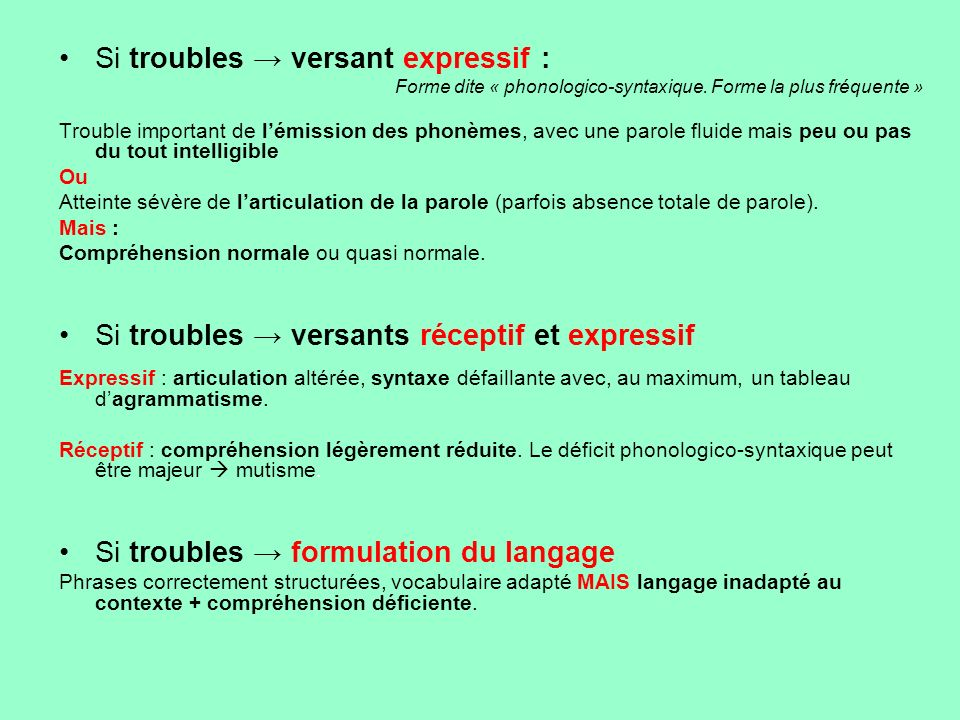 Si troubles → versant expressif :