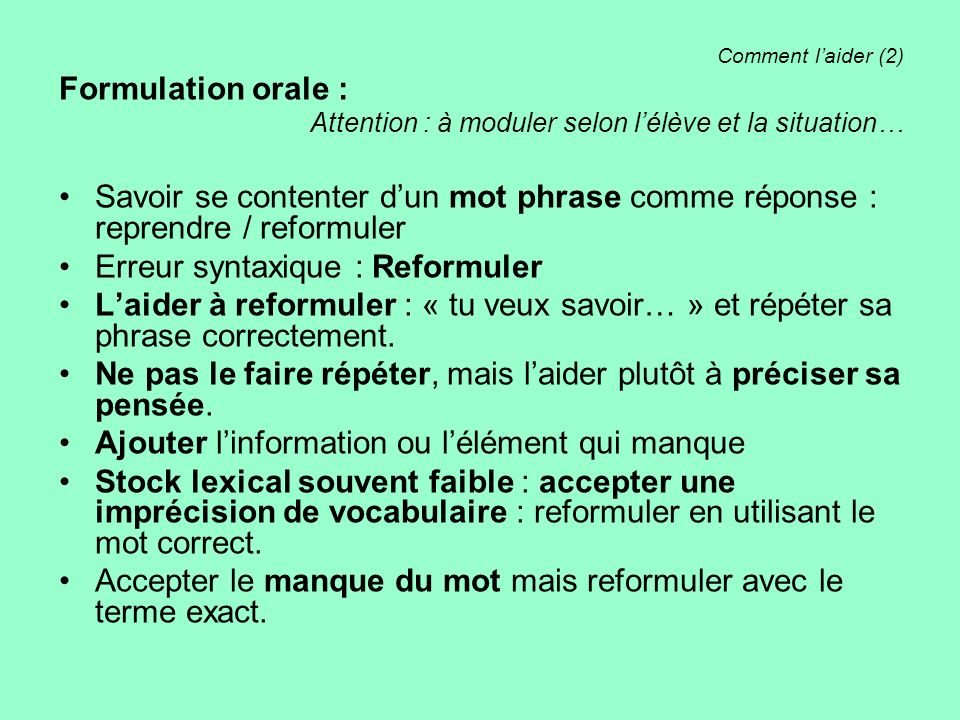 Erreur syntaxique : Reformuler