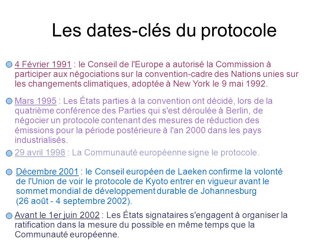 Les dates-clés du protocole