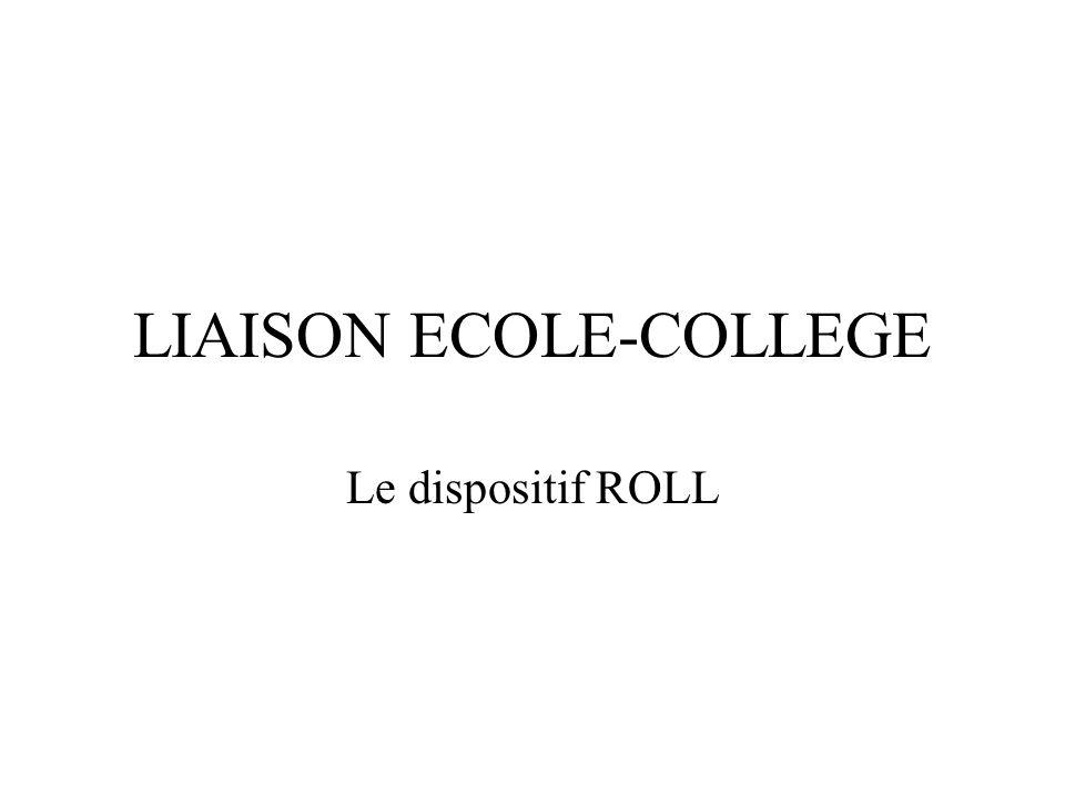 LIAISON ECOLE-COLLEGE