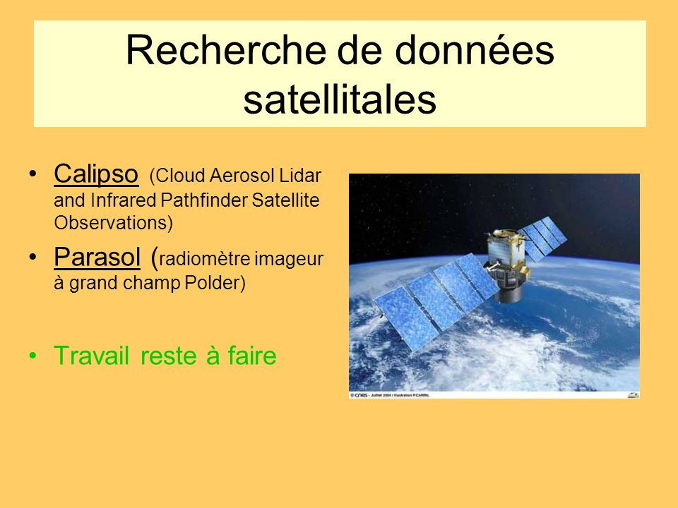 Recherche de données satellitales