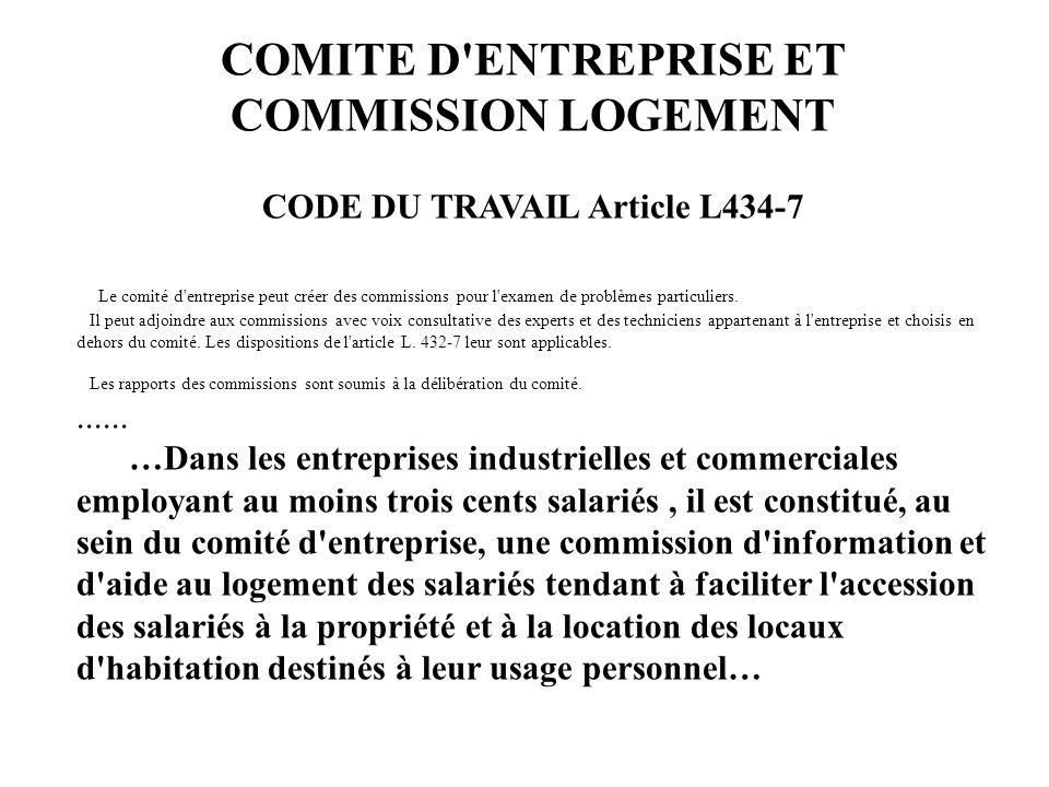 COMITE D ENTREPRISE ET COMMISSION LOGEMENT