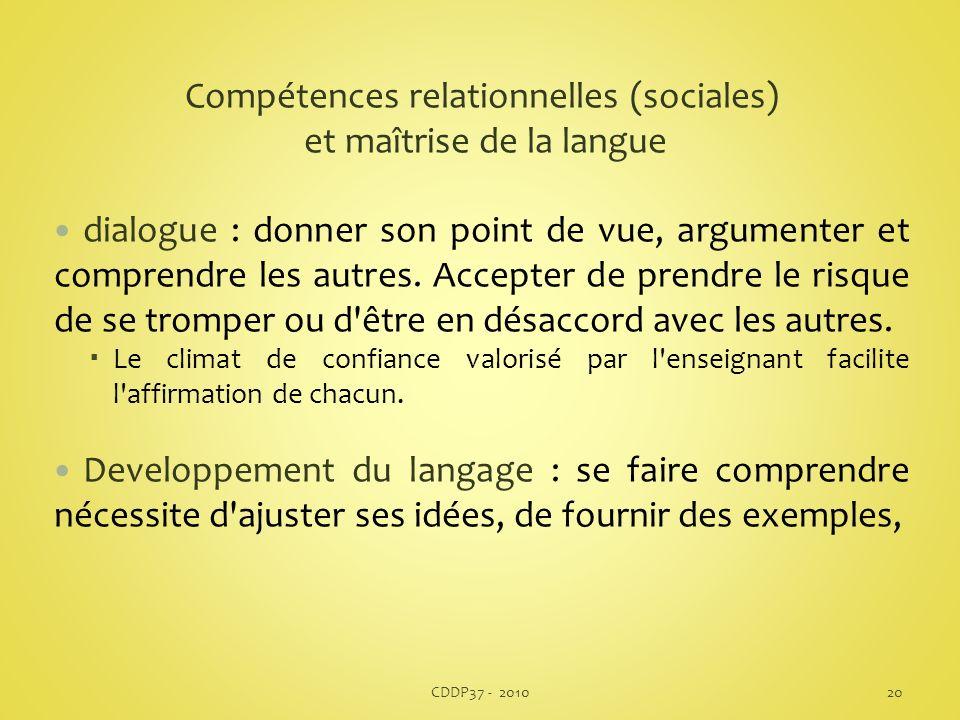 Compétences relationnelles (sociales) et maîtrise de la langue