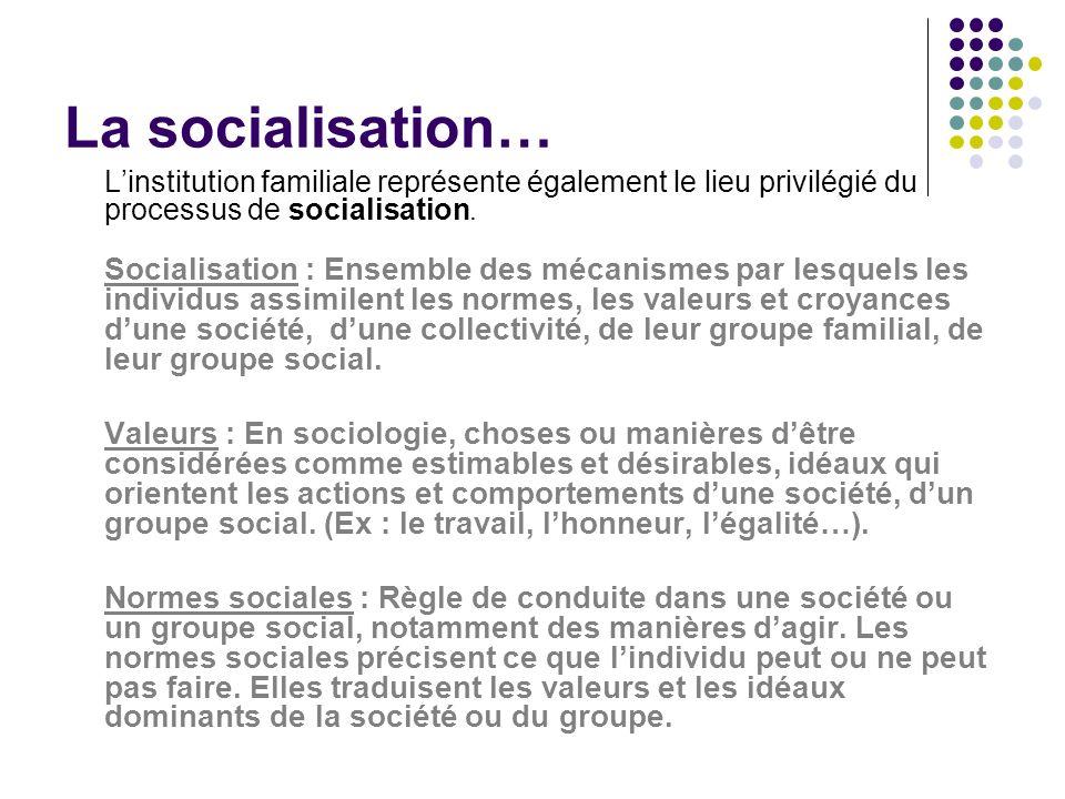 La socialisation… L'institution familiale représente également le lieu privilégié du processus de socialisation.