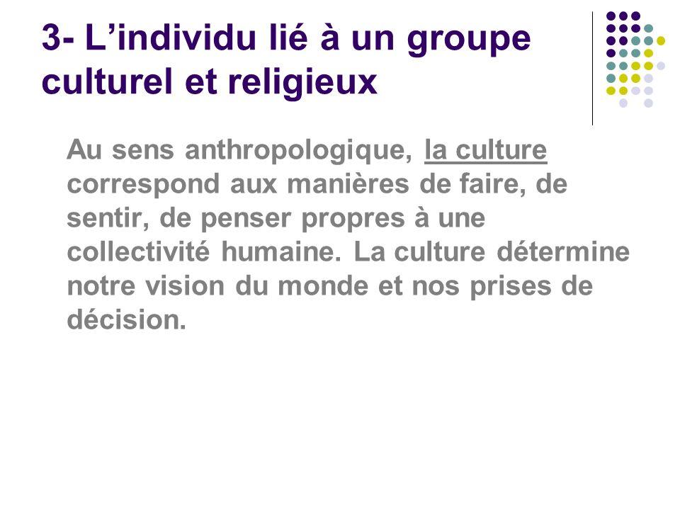 3- L'individu lié à un groupe culturel et religieux