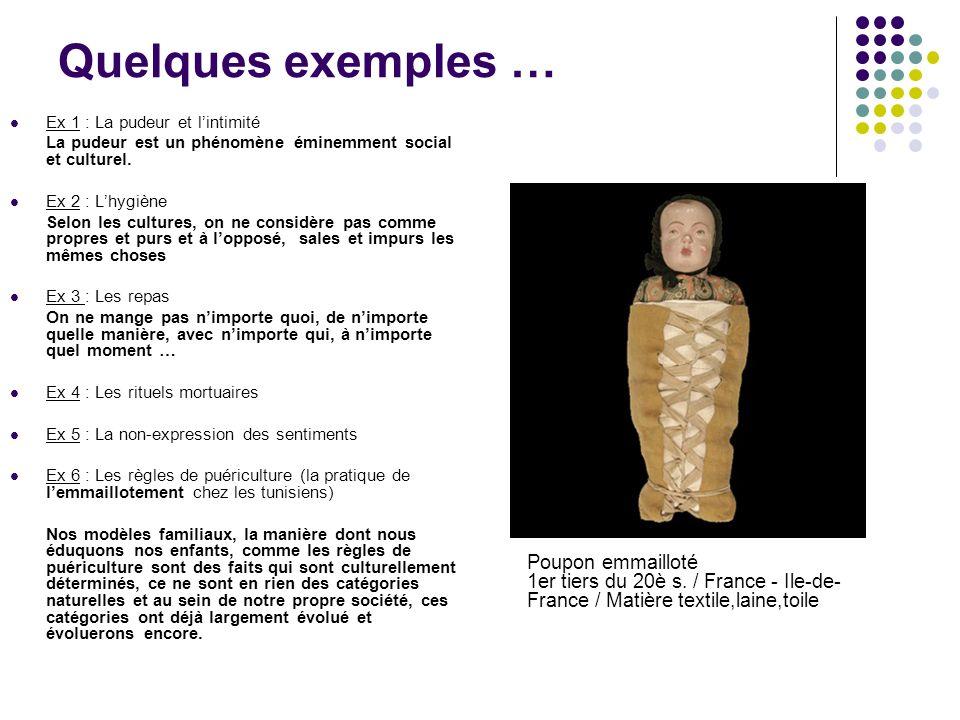 Quelques exemples … Ex 1 : La pudeur et l'intimité. La pudeur est un phénomène éminemment social et culturel.