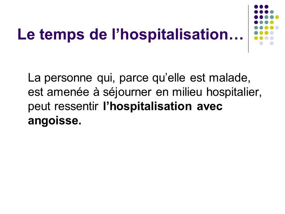 Le temps de l'hospitalisation…