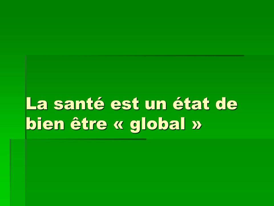 La santé est un état de bien être « global »