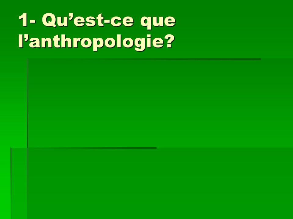 1- Qu'est-ce que l'anthropologie