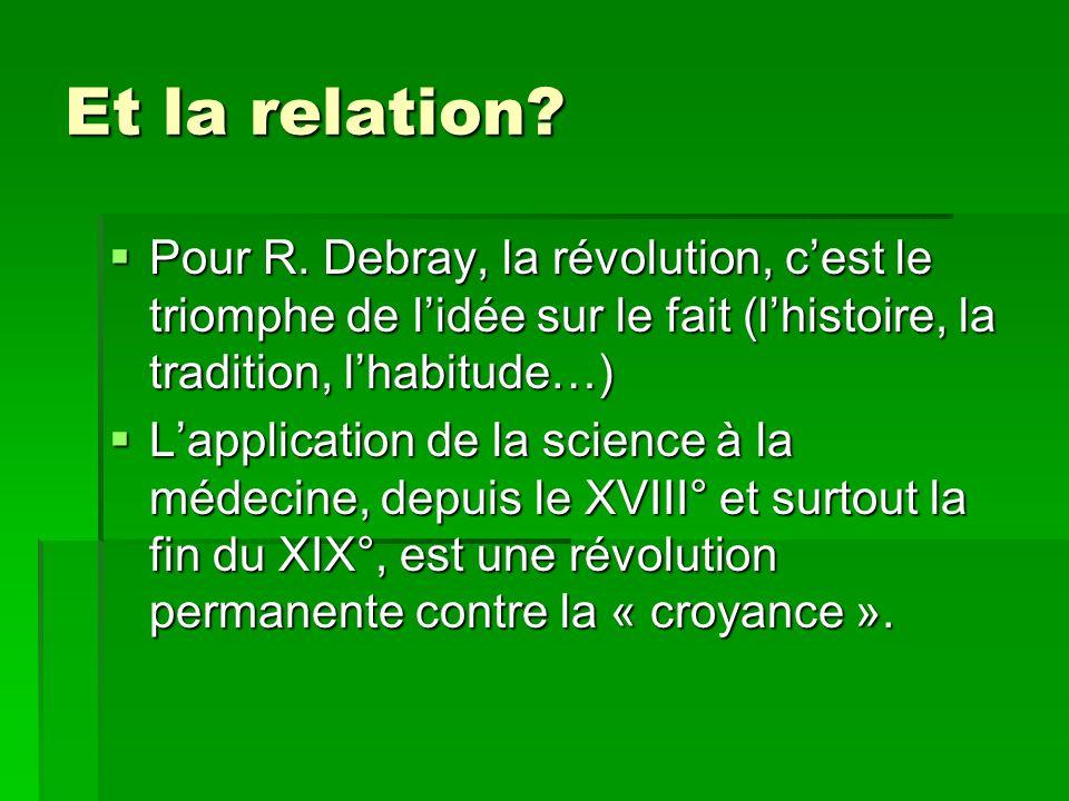 Et la relation Pour R. Debray, la révolution, c'est le triomphe de l'idée sur le fait (l'histoire, la tradition, l'habitude…)
