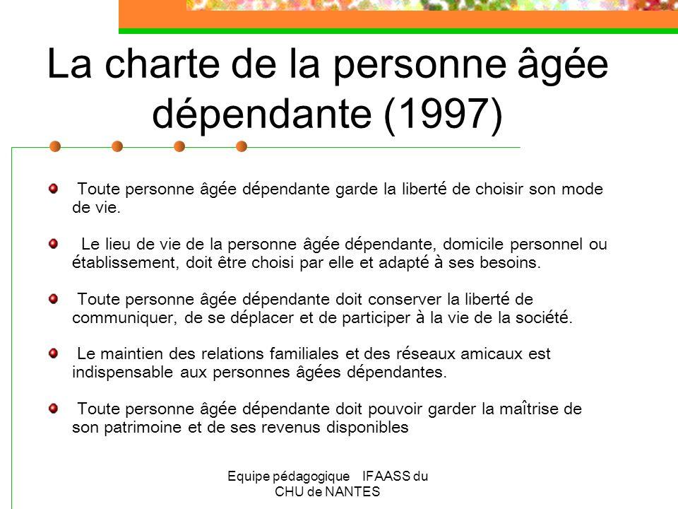 La charte de la personne âgée dépendante (1997)