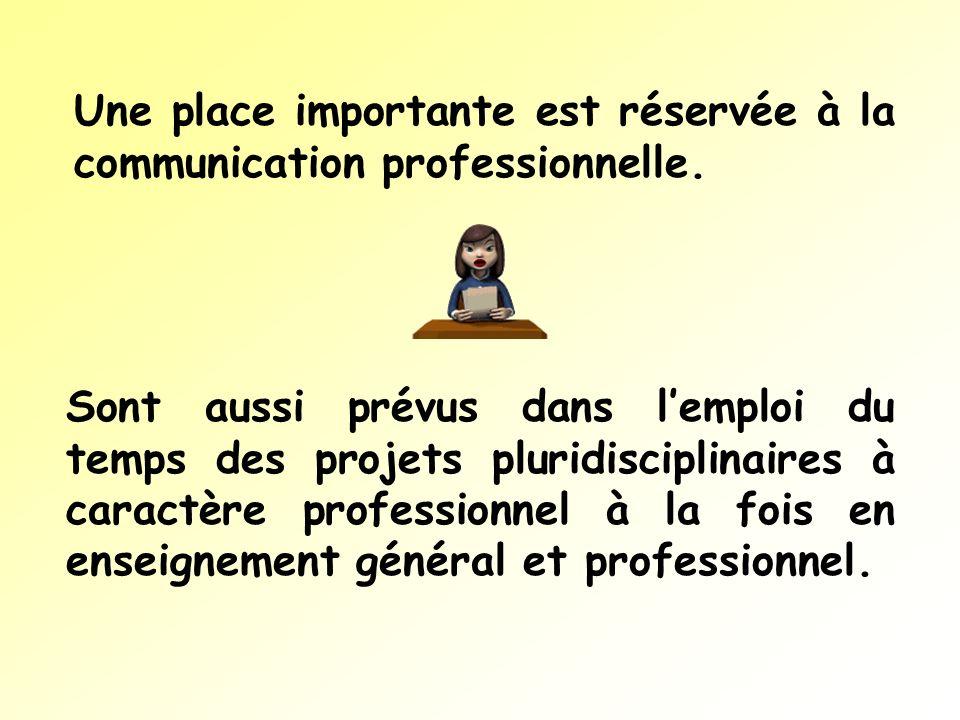Une place importante est réservée à la communication professionnelle.
