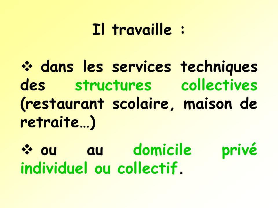 Il travaille :dans les services techniques des structures collectives (restaurant scolaire, maison de retraite…)