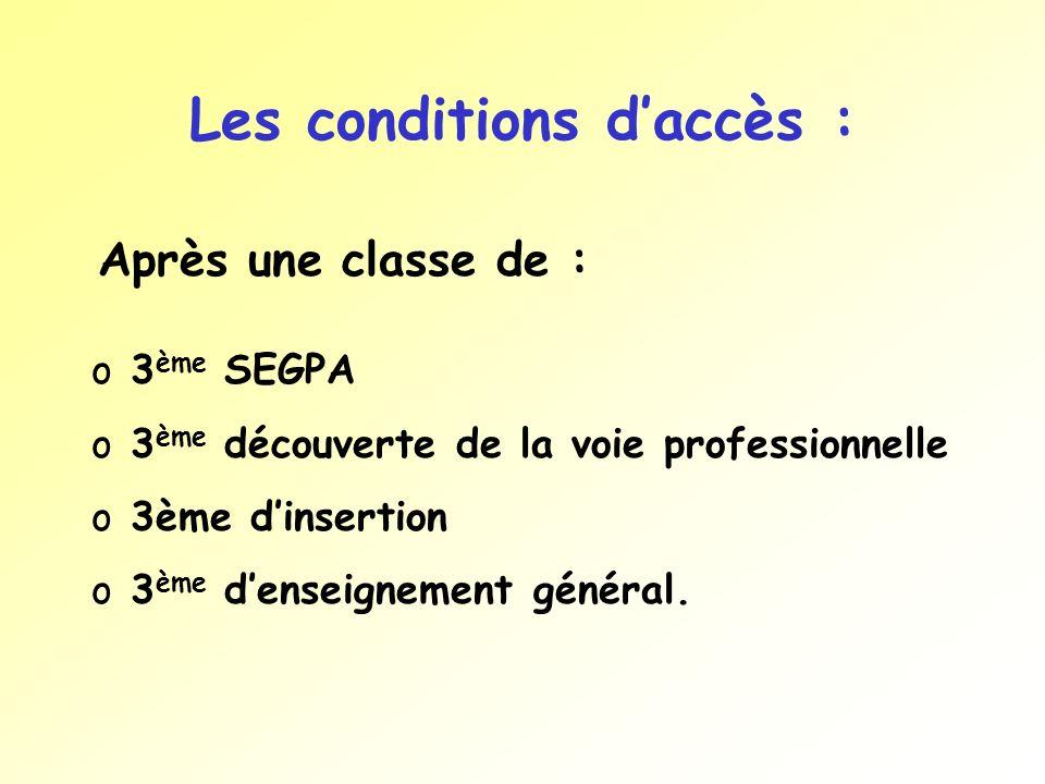 Les conditions d'accès :