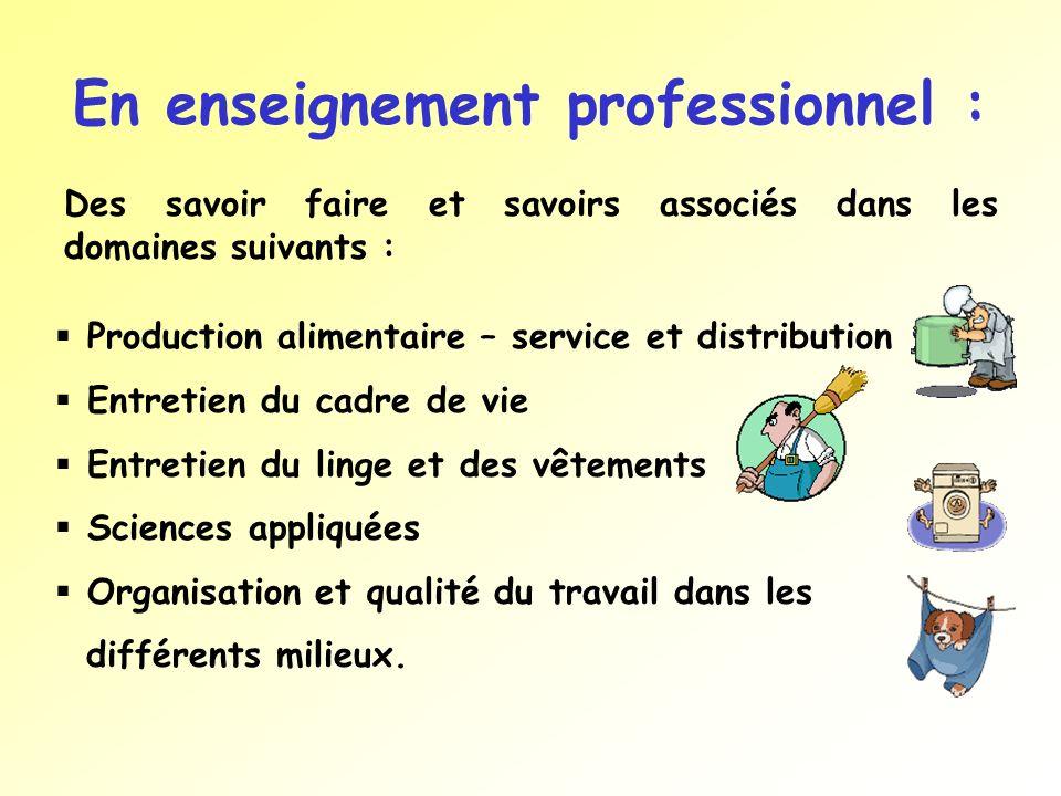 En enseignement professionnel :