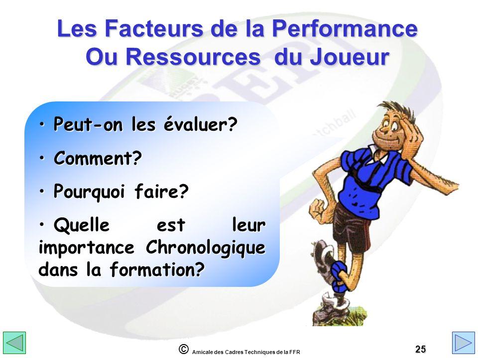 Les Facteurs de la Performance Ou Ressources du Joueur