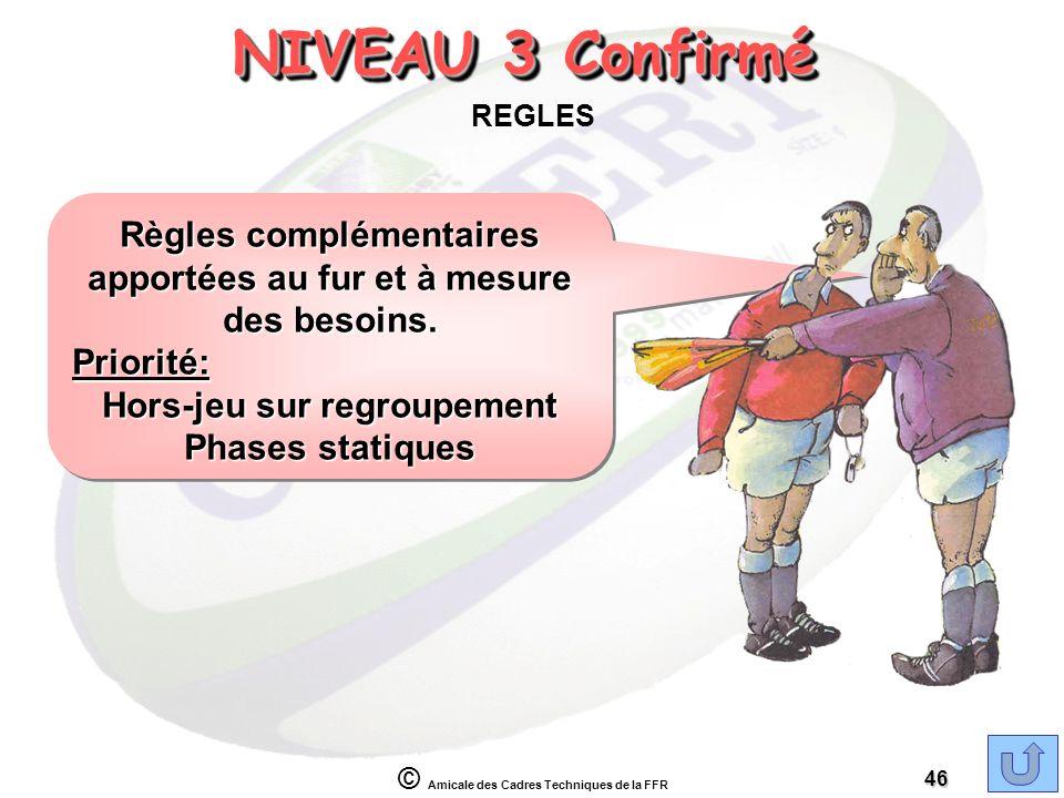 NIVEAU 3 Confirmé REGLES. Règles complémentaires apportées au fur et à mesure des besoins. Priorité: