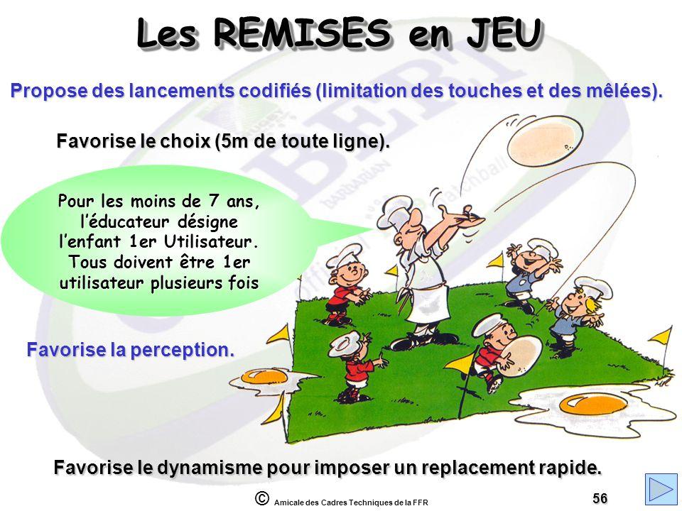 Les REMISES en JEU Propose des lancements codifiés (limitation des touches et des mêlées). Favorise le choix (5m de toute ligne).