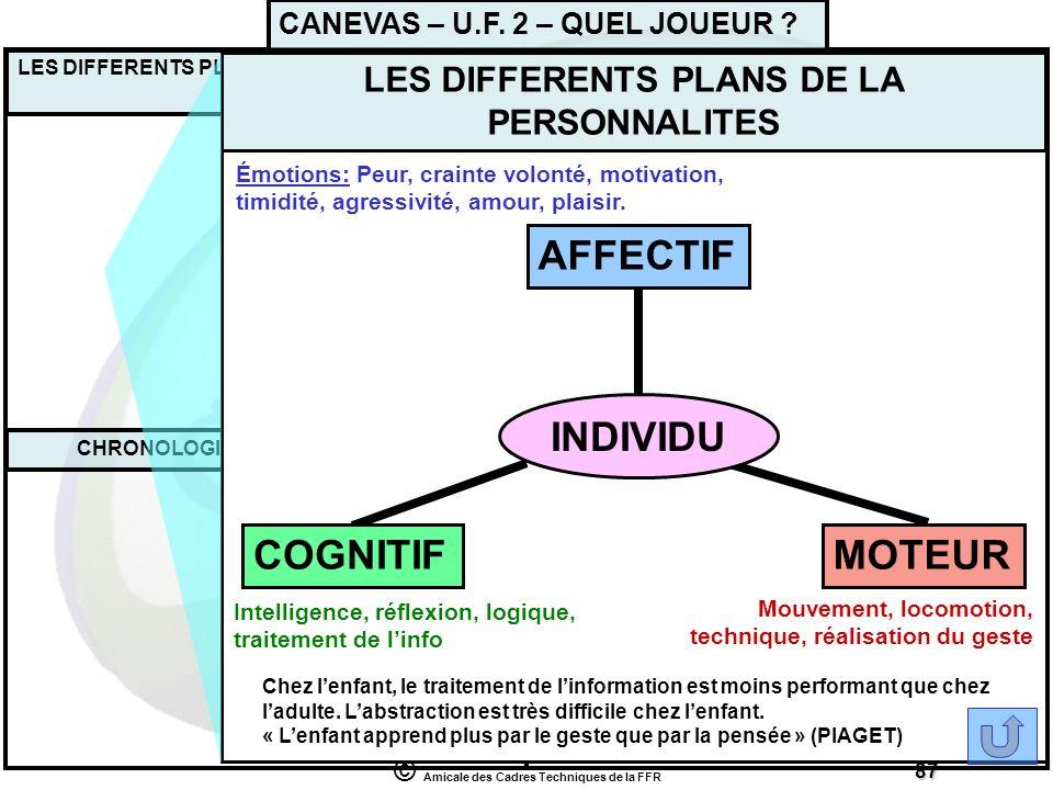 AFFECTIF INDIVIDU MOTEUR COGNITIF CANEVAS – U.F. 2 – QUEL JOUEUR