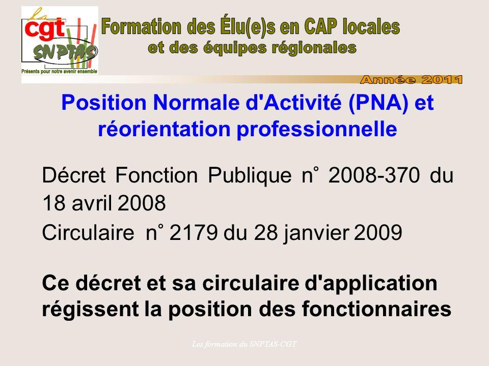 Position Normale d Activité (PNA) et réorientation professionnelle